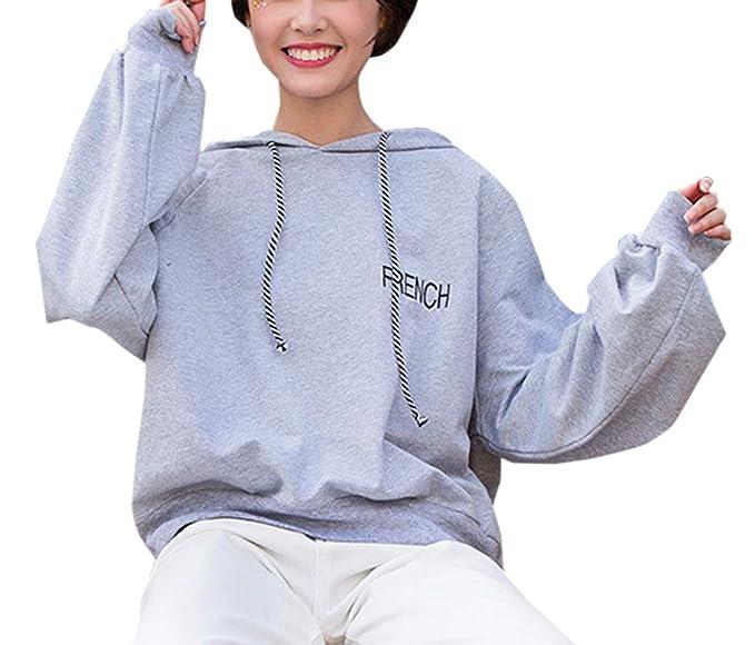 Simple-Fashion Sudaderas con capucha Primavera y Otoño Mujeres Tops Joven Moda Carta Bordado Pulóver