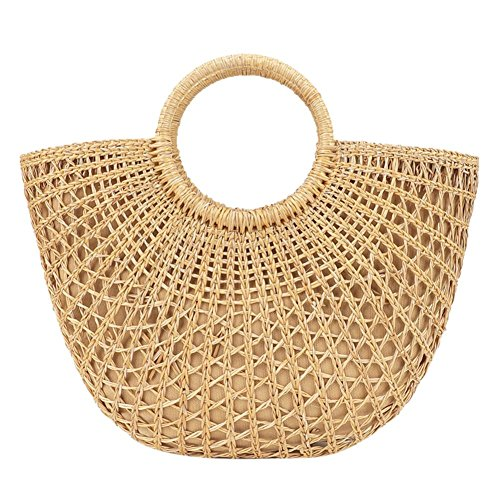 Rattan Handle Purse (AFfeco Handmade Women Round Handle Straw Bags Beach Summer Rattan Handbag Wristlet)