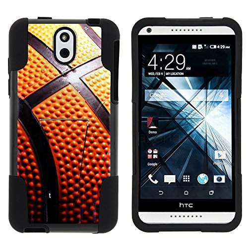MINITUTLE Compatible with HTC Desire 610 Durable Hybrid Strike Impact Stand Case w/Art Pattern Designs Close Up Basketball (Virgin Mobile Htc Desire 4g)