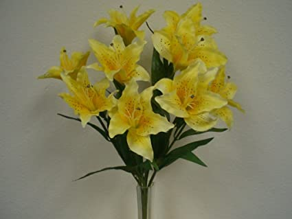 Amazon yellow large tiger lily 9 silk flowers bush bouquet yellow large tiger lily 9 silk flowers bush bouquet artificial mightylinksfo