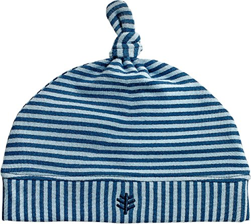 Coolibar UPF 50+ Baby Beanie Hat - Sun Protective (One Size- Vintage Blue/Midnight Blue Feeder Stripe)