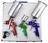 GHP Set of 1/4'' Air Inlet 3 HVLP Spray Guns 3 Paint Cups 1 Regulator & Aluminum Case