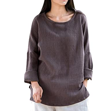 6fa75fde SRYSHKR Vintage Womens Loose Long Sleeve Blouse Casual Solid Color Classical  Tops Shirt(S,