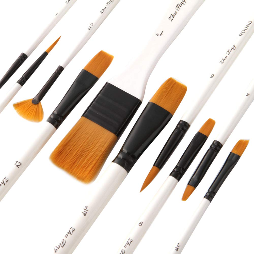 apto para pintura al /óleo suministros de arte con estuche Juego de 15 pinceles de nailon para acuarela con pincel y pincel para pintar acuarelas gouache