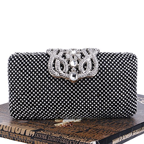 Antique Clubs Bridal Women Diamante Glitter Bag Black Bag Ladies Shoulder Handbag Evening Clutch Purse Wedding For Gift Prom Party wPxR0WPrZq