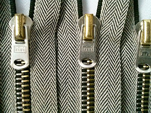 - RiRi Zipper 5 Inches 6mm Two-Tone Gold and Silver Teeth Closed Bottom for Pockets, Accessories, Sleeves, Jeans, Bags, Purses, DIY, Clothing Crafts