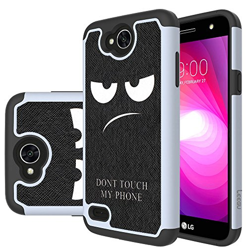 For LG X Charge Case, LG Fiesta LTE Case, LG X Power 2 Case, LG K10 Power Case, LEEGU [Shock Absorption] Dual Layer Heavy Duty Protective Silicone Plastic Cover Rugged Case - Dont Touch My Phone