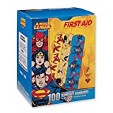 First Aid Wonder Woman, Superman, Flash Bandages - First Aid Kit Supplies - 100 per Pack