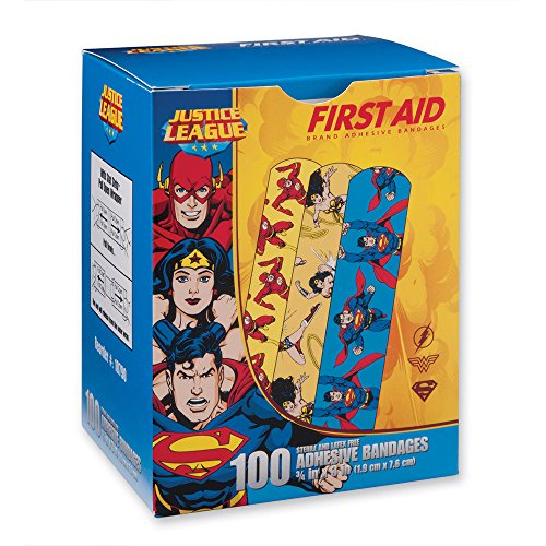 (First Aid Wonder Woman, Superman, Flash Bandages - First Aid Kit Supplies - 100 per Pack)