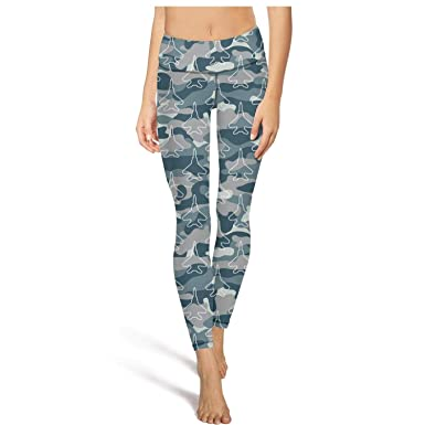 Gym Yoga Pants for Womens Capri Leggings Blue Camouflage Army Universe  Aircraft High Waist Girls Tights 8ed22b6671
