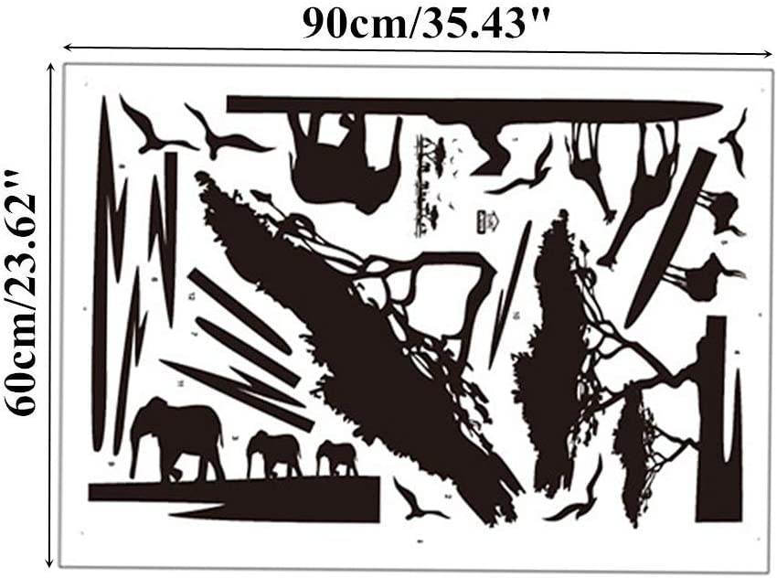 Safari africano Silueta Arte de la pared Pegatinas /Árboles Elefante Jirafa Aves Ant/ílope Negro Decorativo Extra/íble DIY Vinilo Decoraci/ón para el hogar