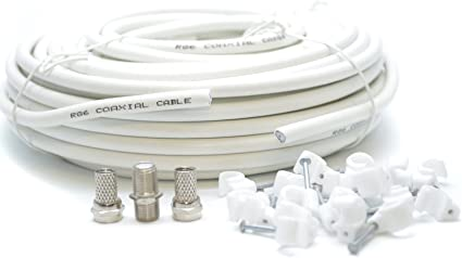 Generic - Cable coaxial para TV HD (50 m, 50 m), Color Blanco ...