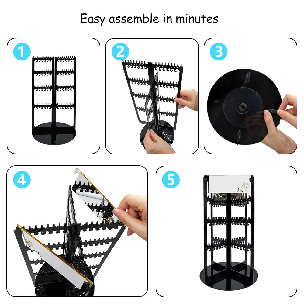 Premium Acrylic Large 368 Hanger 4 Tier Earring Holder Necklace Bracelet Jewelry Display Rack Stand Tower with 2 Mirror DeisgnSter 360/° Rotating Earring Organizer Black
