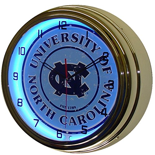 University of North Carolina Logo Sign Neon Lighted Wall Clock Chrome Blue ()