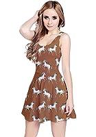 CowCow, abito da donna, motivo: Unicorni, stile vintage, senza maniche