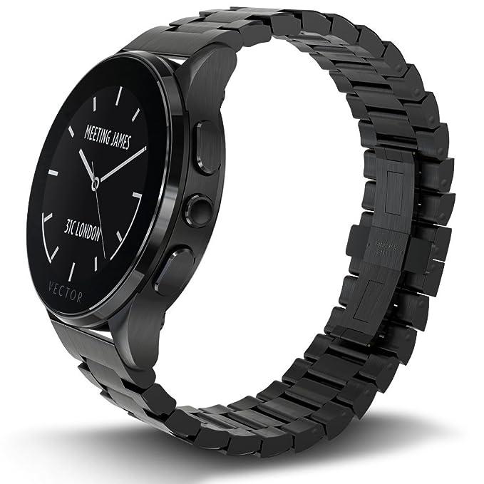 Vector L1-10-006 Luna - Smartwatch de acero inoxidable, 46 mm, color negro