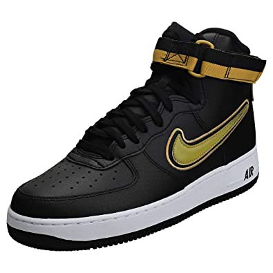 Nike Men\u0027s Air Force 1 High 07 LV8 Sport, Black/Metallic Gold,White, 8 M US