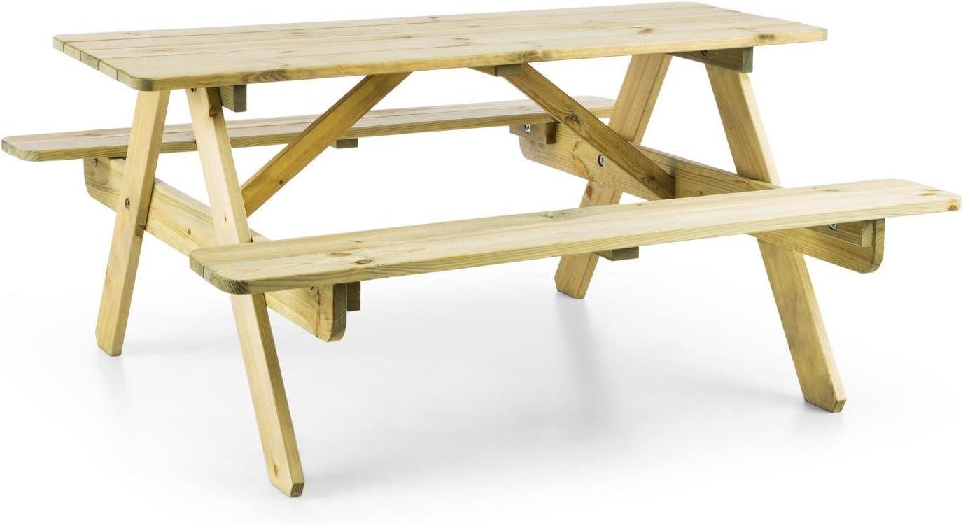 Blumfeldt Picknickerchen Mesa de Picnic para niños (Mesa de Juegos con Asientos, Resistente a Intemperie, Madera de Pino)