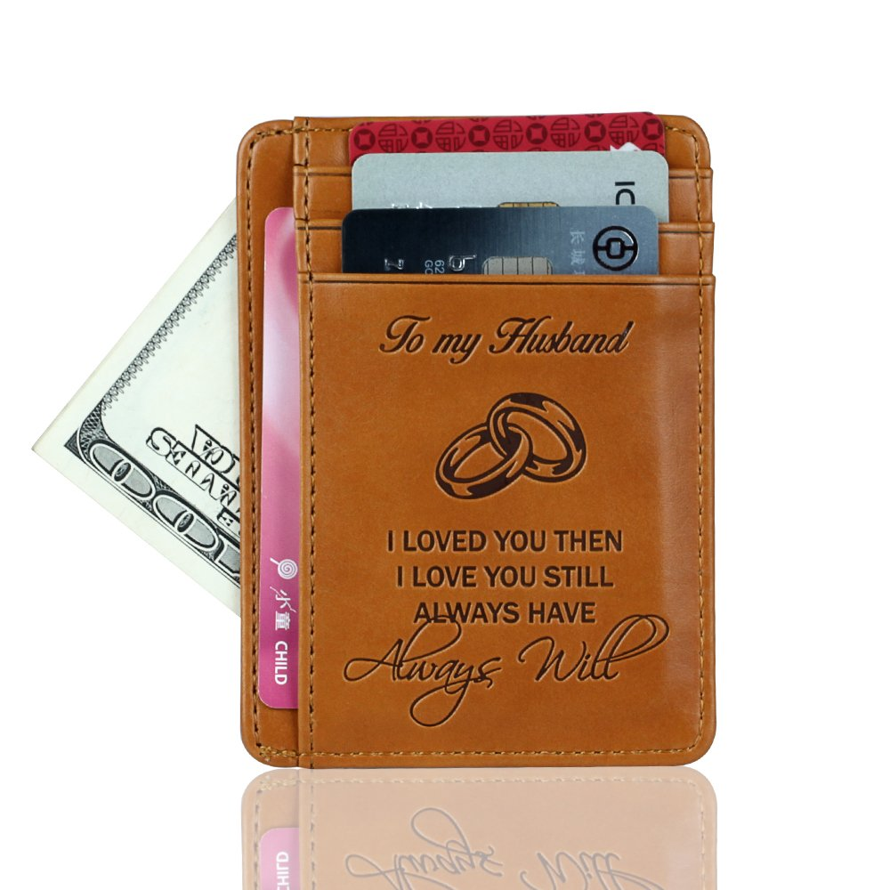 Pocket Minimalist Wallet | Money Clip Blocking Credit Card Holder | Gift For Husband