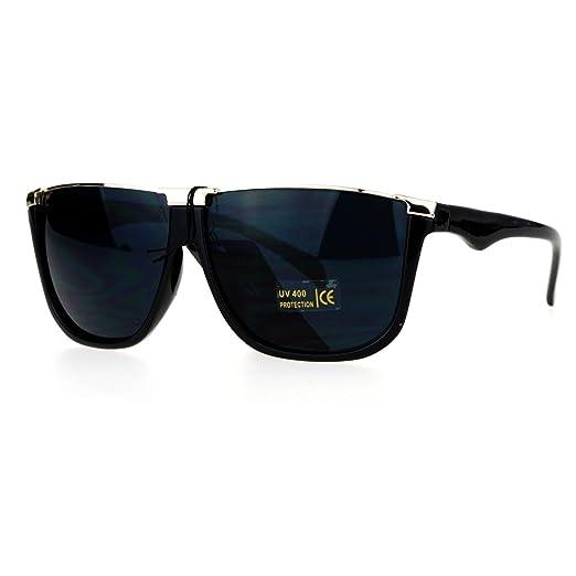 5e7929e0982d Amazon.com: SA106 Metal Flat Top Mobster Rectangular Unique Mens Sunglasses  Black: Clothing