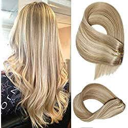 Clip in Extensions Human hair With Beige Blonde Highlights 7 Pieces 70g Per Set 15 18 20 22 inch Silky Straight Weft Remy Hair (15 Inches, #18-613)