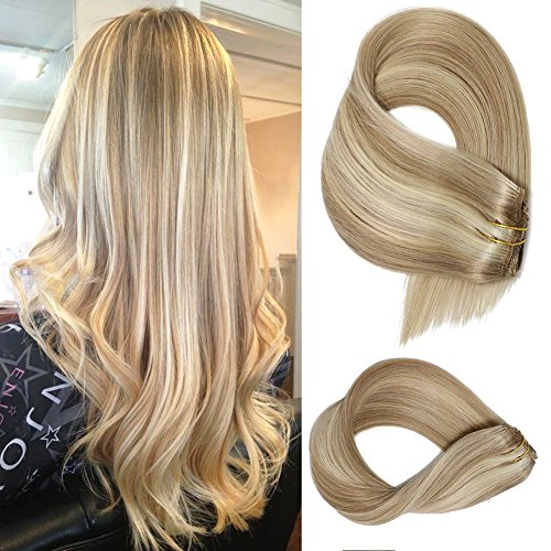 Clip in Extensions Human hair With Beige Blonde Highlights 7 Pieces 70g Per Set 15 18 20 22 inch Silky Straight Weft Remy Hair (15 Inches, #18-613) (Blonde Real Hair Dark Extensions)