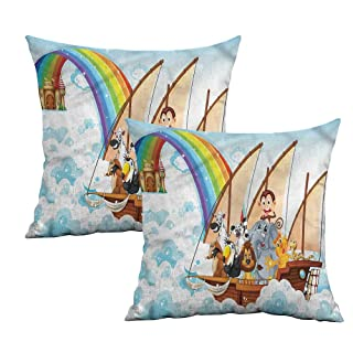 Khaki home Children Square Slip Pillowcase Colorful Pencils Squares Square Pillowcase Covers with Zipper Cushion Cases Pillowcases for Sofa Bedroom Car W 24' x L 24' 2 pcs