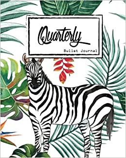 bullet journal dot grid quarterly guided zebra and flamingo in the jungle with leaf composition notebook 8 x 10 90 page small journal notebook