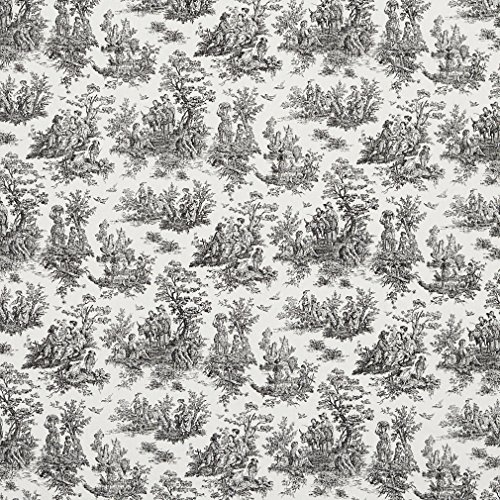 J9800B Black And White Classic Toile Traditional Pastoral Cotton Printed Upholstery Fabric By The Yard