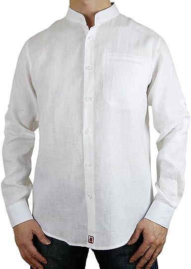 Sinologie - Camisa Casual - Cuello Mao - para Hombre Blanco Small: Amazon.es: Ropa y accesorios