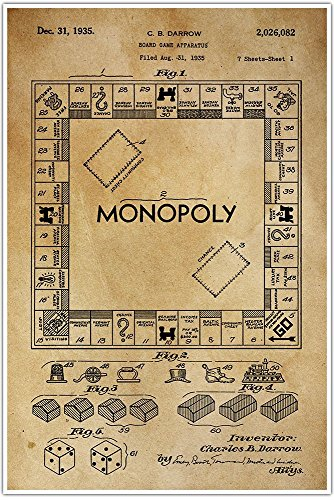 Amazon monopoly board games and toys blueprint patent patent amazon monopoly board games and toys blueprint patent patent poster blueprint poster art gift poster print patent poster handmade malvernweather Choice Image