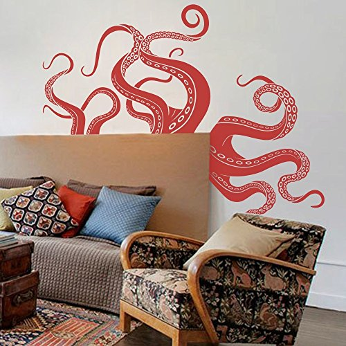 Octopus Tentacles Vinyl Wall Sticker Sea Monster Decal Kraken Decor Squid Wall Graphic Home Wall Art Tomato Red