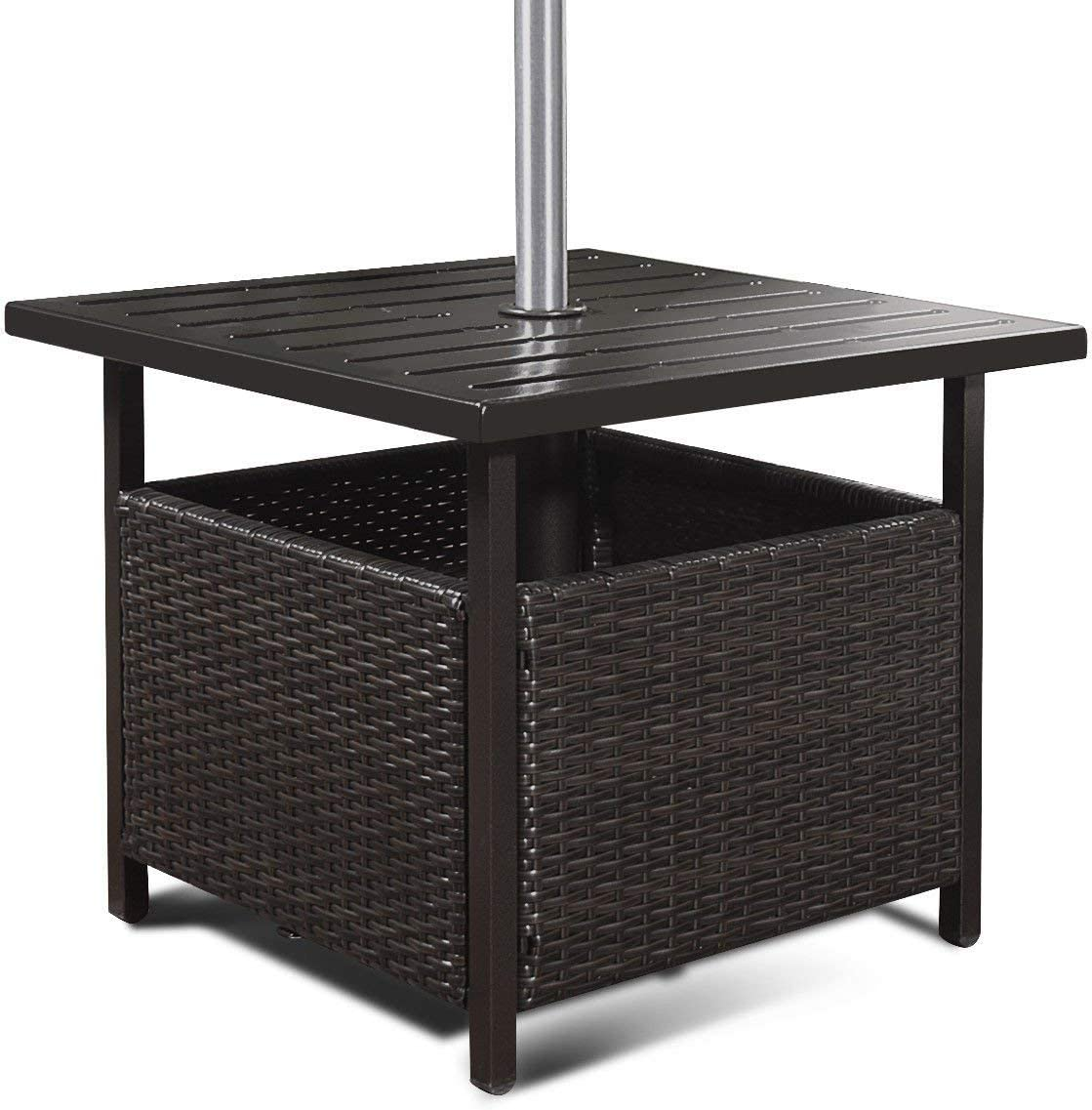 ReunionG Patio Umbrella Side Table, Rattan Wicker Stand Table with Umbrella Hole Steel, Suitable for Outdoor, Garden Pool Furniture, Bistro Table