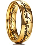 King Will Magic 7mm Titanium Ring Gold Plated Lord of Rings Comfort Fit Wedding Band for Men Women
