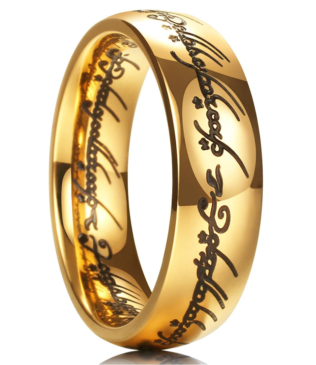 king will magic 7mm titanium ring gold plated lord of ring comfort fit wedding band for men women amazoncom - Lord Of The Rings Wedding Band