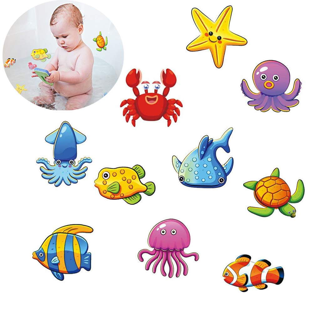 Lemimo Non-Slip Bathtub Stickers Pack of 10 Large Sea Creature Decal Treads Best Adhesive Safety Anti-Slip Appliques for Bath Tub and Shower Surfaces