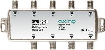 photos officielles gros remise grande qualité Axing SWE 40-01 Coupleur d'antennes satellite et terreste / TNT pour Quad  LNB, 4 sorties