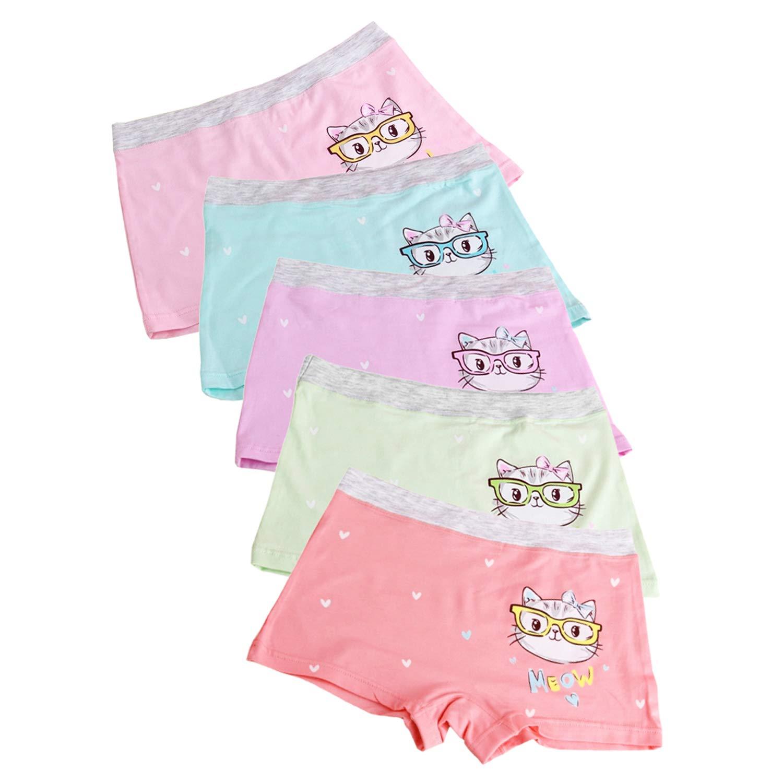 XPX Garment 5 Pack Cartoon Little Girls Boyshorts Knicker Baby Girl Cotton Boxer Briefs Hipster Underwear 3-12 Years