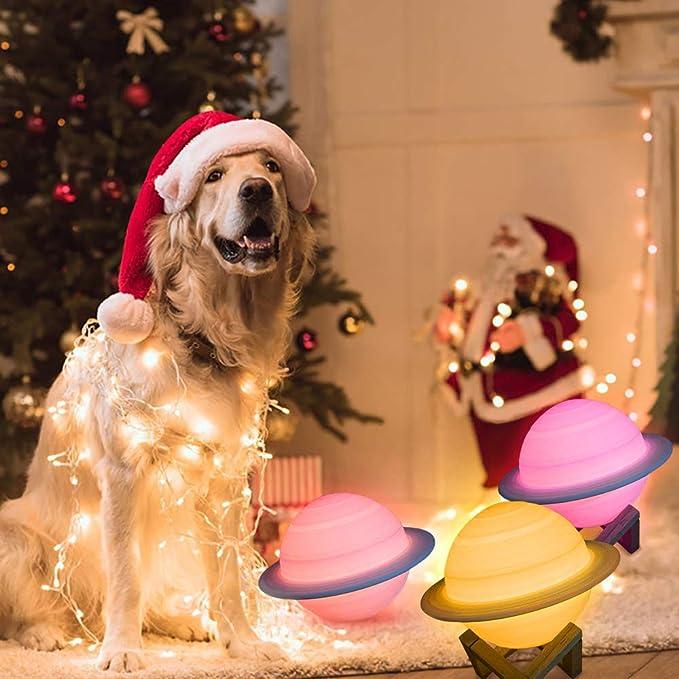 TiooDre L/ámpara Led Port/átil Para Ni/ños Luz Nocturna Para Ni/ños L/ámpara 3d Con Luz Led De Saturno 16 Colores Control Remoto Para Decoraci/ón Del Hogar Regalos De Navidad Para Ni/ños