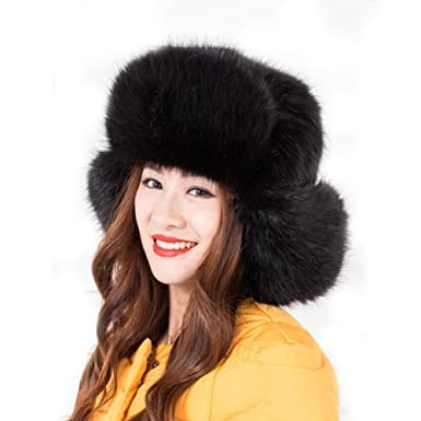 b28b9b856eb Dikoaina Faux Fur Snow Trapper Hat with Ear Flap for Skiing Head  Circumference 22 quot -