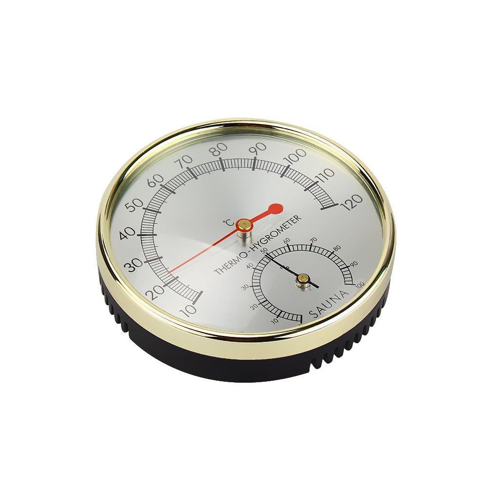 JIAN YA NA 4 Inch Diameter Thermometer Hygrometer Thermograph Humidity Meter Hydrothermograph Weather Station for Sauna Room,Hotel or Family Sauna