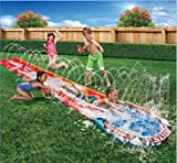 Inflatable Slip N Slide Kids This Big Turbo Racer Kiddie Blow Up Above Ground Long Waterslide Is Great For Toddlers & Children, Bonus 3 Boogies, Aqua Splash To Have Outdoor Water Fun With All Family.