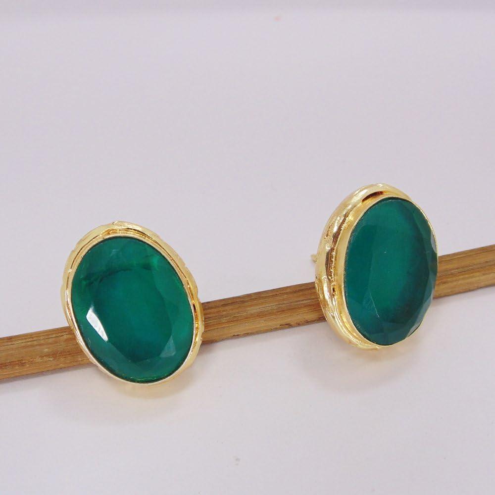 Pendientes vermeil de oro de 18 quilates con piedras preciosas de ónix verde