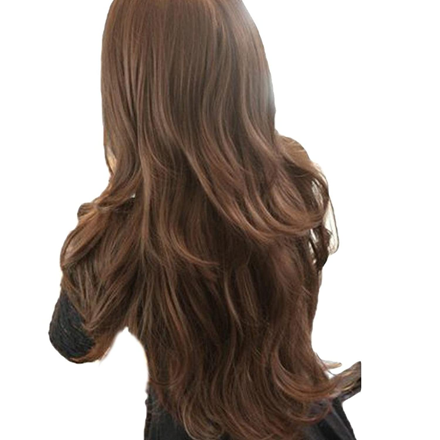 DDLBiz Womens Girls Fashion Long hair wig with wavy curly hair + Hairnet