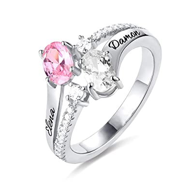 c56a516a6c294 Amazon.com: Personalized Two Heart Stone Name Ring in 925 Sterling ...