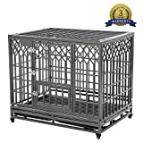 SMONTER 42' Heavy Duty Strong Metal Dog Cage Pet Kennel Crate Playpen with Wheels, Y Shape, Silver