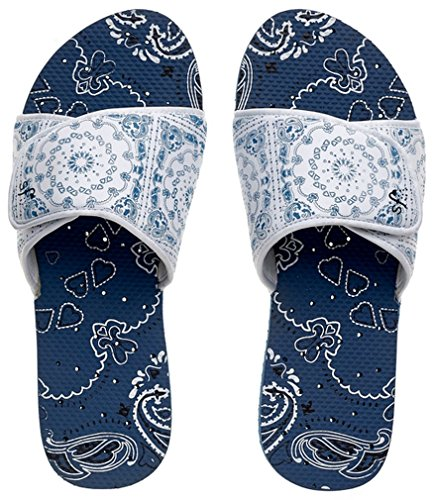 Showaflops Girls' Antimicrobial Shower & Water Sandals for Pool, Beach, Camp and Gym - Bandana Adjustable Slide 13/1 ()