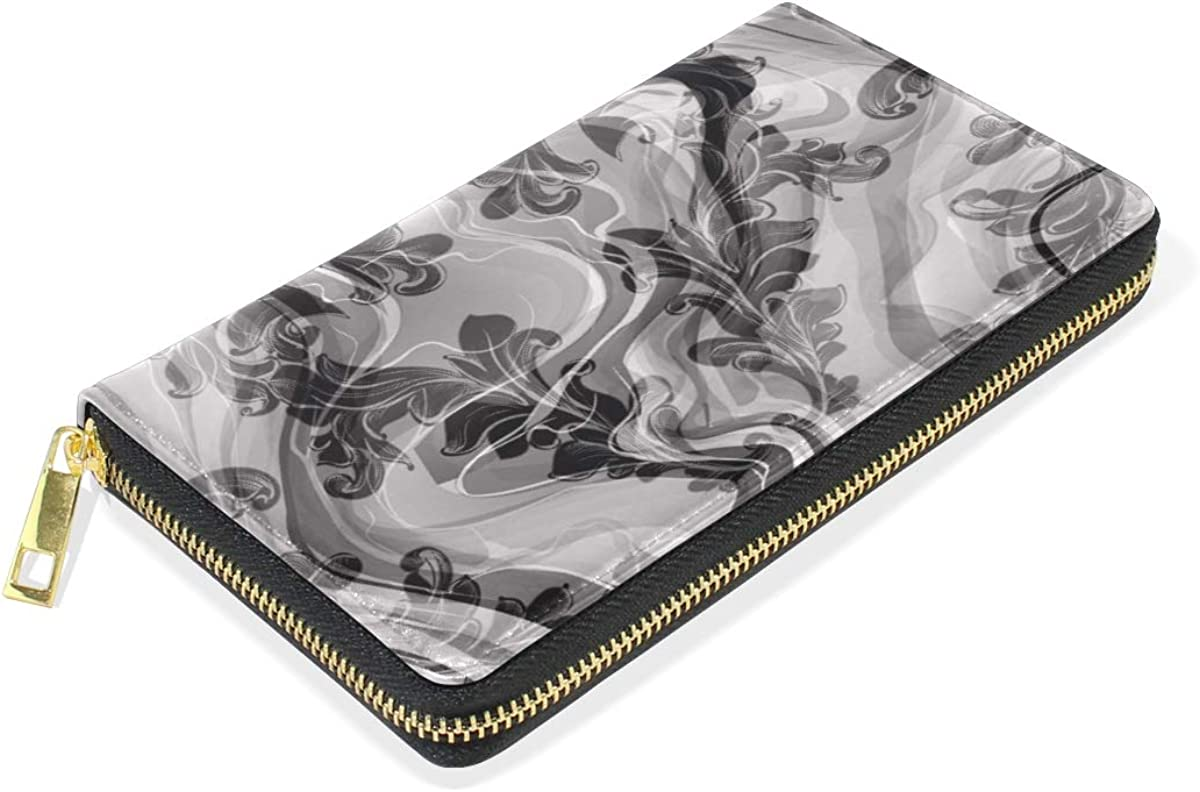 Gray Marble Abstract Art Wallet Real Leather Purse Credit Card Holder for Women Phone Girl
