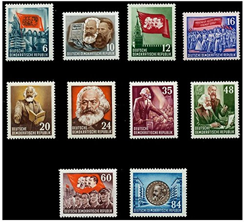 COMPLETE SERIES of 10 DIFF 1953 KARL MARX STAMPS on 100TH ANNIVERSARY of HIS DEATH! IMPORTANT COMMUNIST STAMPS w VIVID COLORS and -