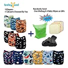 Babygoal Baby Adjustable Reuseable Pocket Cloth Diaper Nappy 12pcs + 12pcs 5-layer Charcoal Bamboo Reusable Inserts 12FB53-3